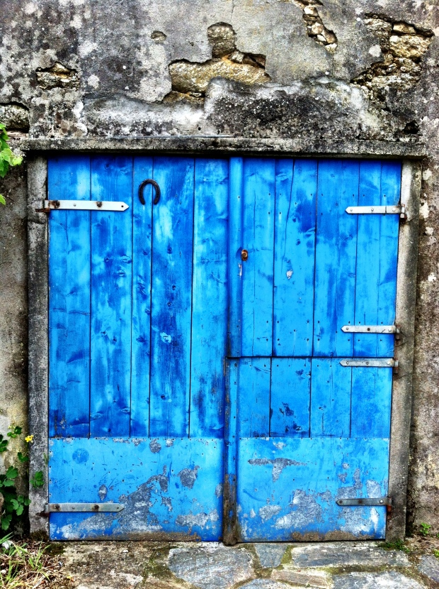 One of the many blue doors along the Camino