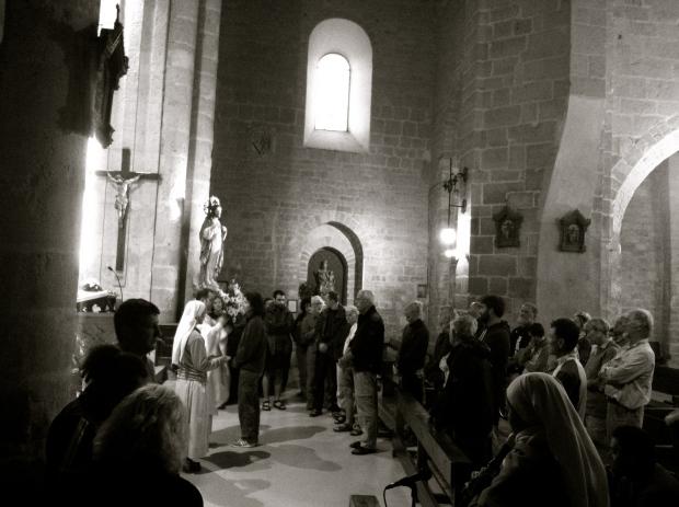 Pilgrim blessing after mass
