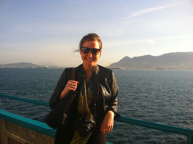Ferry to Morocco with Gibraltar behind me.