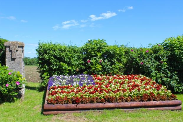 Impressive U.S. flag inspired flower bed
