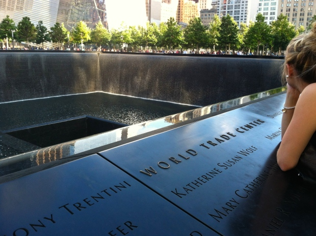 9/11 Memorial at sunset