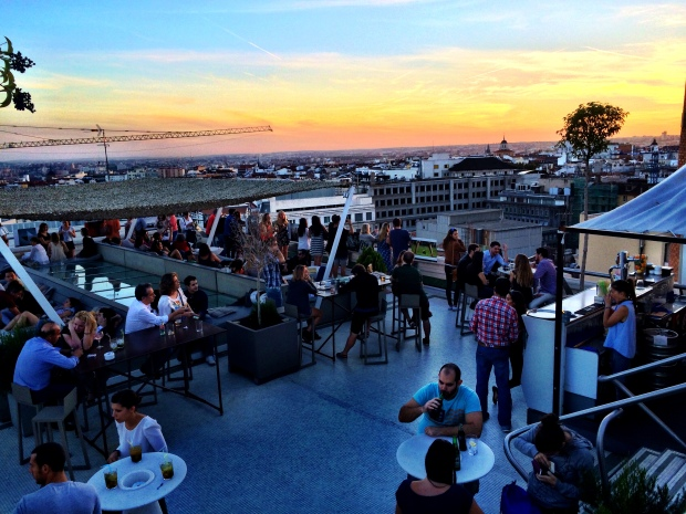 Rooftop bar at sunset