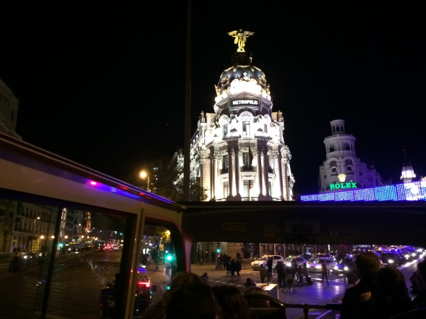 Christmas bus through Madrid to see the lights