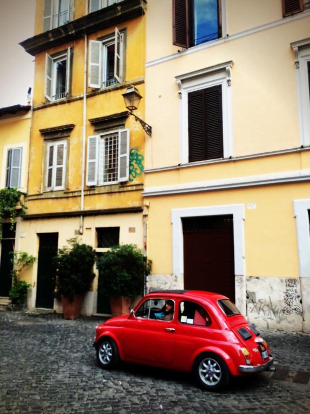 An old Fiat 500 in Trastevere