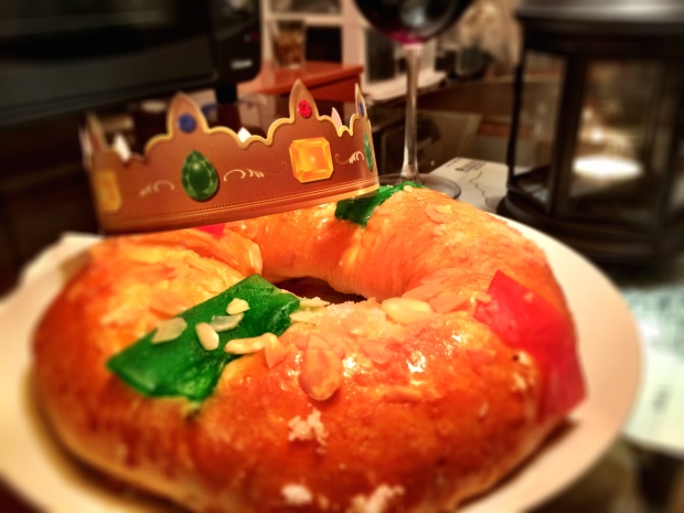 Roscón de Reyes, complete with the crown for the person who finds the toy