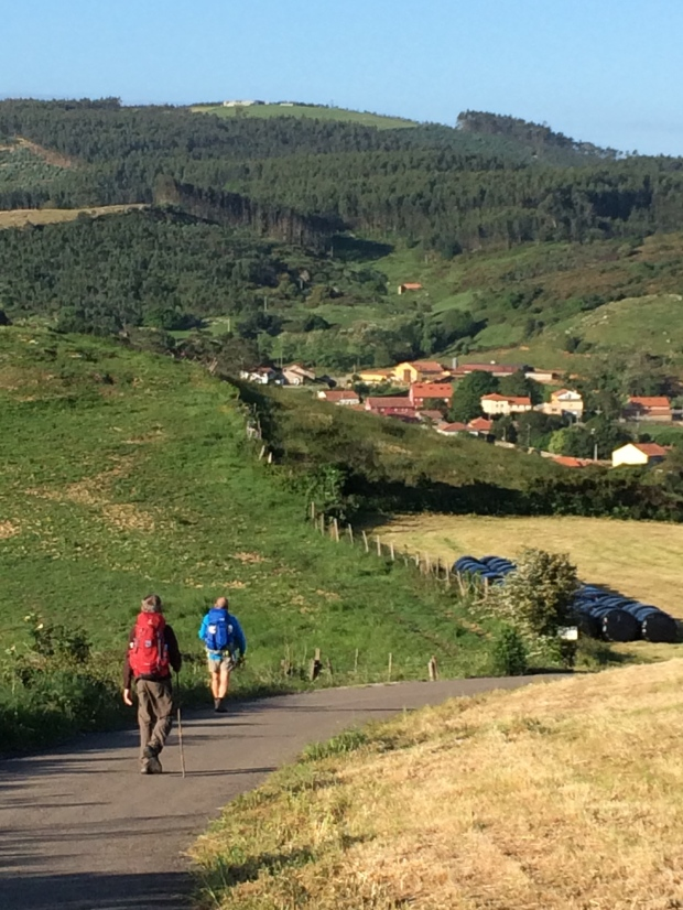 Pilgrims walking to Comillas