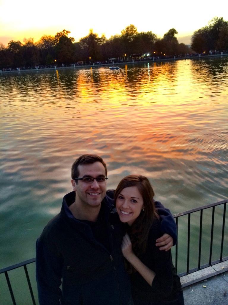 Erin and her boyfriend, Chris enjoying a Retiro sunset along the lake