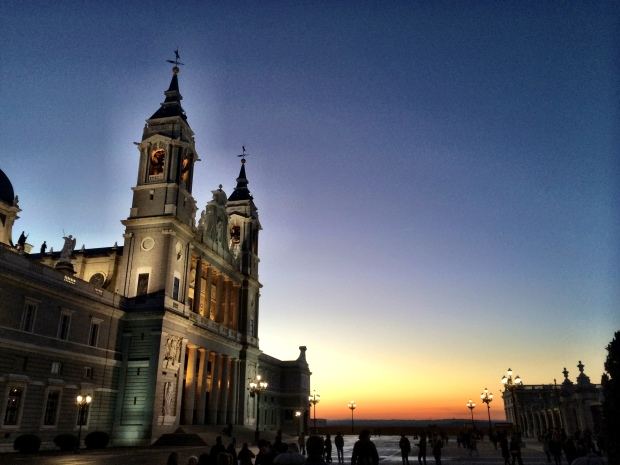 Sunset is good to Madrid's cathedral